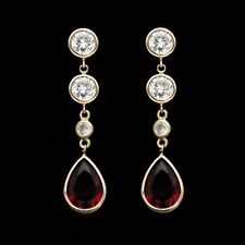 5Ct Created Diamond Pear Red Garnet Bezel Stud Dangle Earrings 14k Yellow Gold