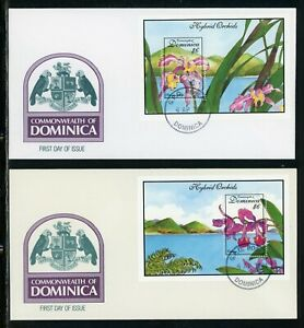 Dominica Scott #1675-1676 FIRST DAY COVERS (2) Orchids Flowers FLORA S/S's $$