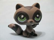 LITTLEST PET SHOP RACCOON BLACK GREY w GREEN EYES FOREST PET #450 100% Authentic