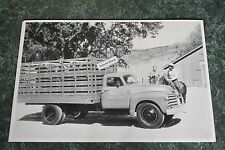 """12 By 18"""" Black & White Picture 1950 Chevrolet Stakebed Truck Moore's Stock Farm"""