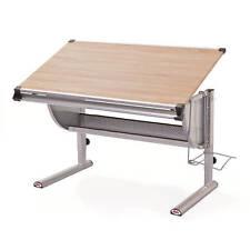 Bureau fonctionnel inclinable et réglable en hauteur en métal laqué gris alu
