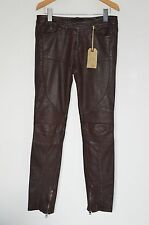 "*NEW ULTRA RARE* AllSaints Ladies OXBLOOD Leather Biker Trousers UK8 25"" Pants"