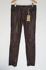 "*NEW ULTRA RARE* AllSaints Ladies OXBLOOD Leather Biker Trousers UK8 25"" Pants"