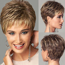Ombre Brown Blonde Wigs For Women Short Straight Hair Pixie wig with Bangs