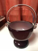 Hand Blown Murano Art Glass Basket Candy Dish Purple Amber With Pedestal Base