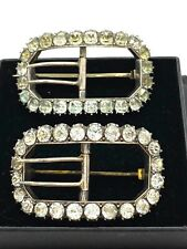 Diamond Paste Shoe Buckle Brooches Rare Antique Pair Georgian Sterling Silver