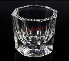 1x Vetro Crystal Cup Dappen piatto Arcylic Nail Art Liquid Powder Container