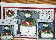 6 Pc Snowman Placemats Christmas Tabel Kitchen Towels Holiday Decoration