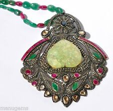 HUGE 14KT 70 CARATS CARVED EMERALD RUBY DIAMOND NECKLACE COLLAR ネックレス
