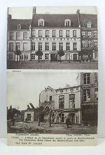 POSTCARD: Chatellenie Hotel, Ypres, before and after the bombardment, WWI