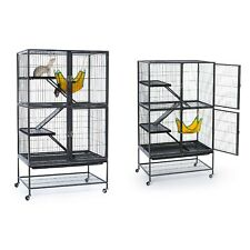Large Ferret Pet Cage Stand With Casters And Hammock Two Large Doors Black