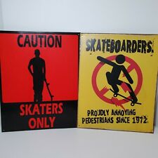 Skateboarding Metal Signs Lot Of 2 by Sign of the Times
