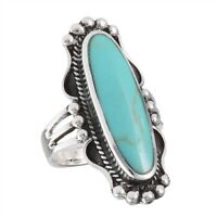 Sterling Silver Long Oval Turquoise Ring - Free Gift Packaging