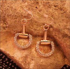 NEW Horse Snaffle Bit Equestrian Gold Tone Hinged Pave Crystal Pierced Earrings