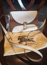 burberry henamb bin white leather and canvas check crossbody handbag
