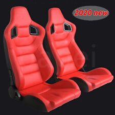 2x Car Recline Racing Seats Red Leather Full Wraped seats w/Slides Sport Bucket