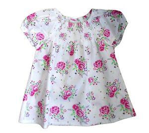JoJo Maman Bebe Girls Dress 2-3 yrs White Floral Cotton Puffed Sleeves