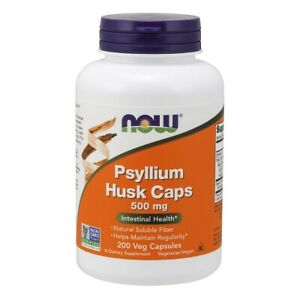 NOW Foods Psyllium Husk 500 mg 200 Veg Capsules FREE SHIPPING. MADE IN USA