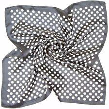 "100% Silk Polka Dots 19"" X 19"" Square Bandanna Neckerchief Black & White"
