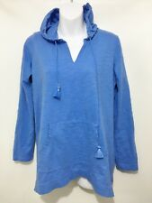 J Jill Womens S Periwinkle Blue Tab-Sleeve Knit Hoodie Lightweight Cotton