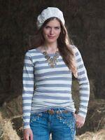 New Matilda Jane Womens Secret Fields gray white Sadie Tee Top Size Medium M