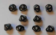 10 Negro Ten Dado Lados Geometría Enseñanza RPG D10 NEW
