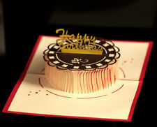 Carte 3D - pop up - Anniversaire, Happy Birthday, gâteau