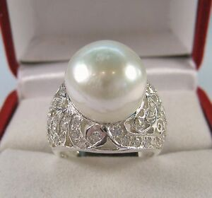 13 MM PEARL .76 CTW WHITE SAPPHIRE RING size 7.25 - WHITE GOLD over 925 SILVER