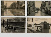 4 Anciennes cartes postales innondations de 1910 : Charenton(2) Paris(2)