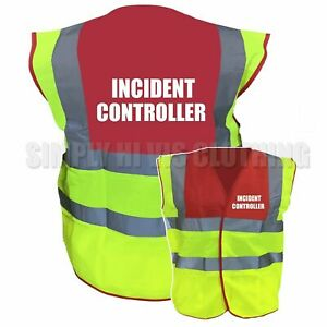 Incident Controller Pre Printed Red / Yellow Two Tone Hi Vis Safety Vest / Wa...