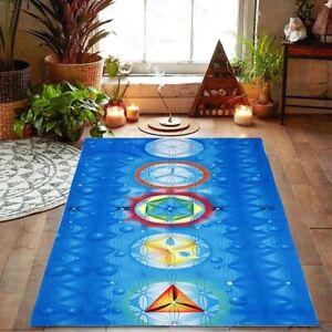 Sacred Geometry Reiki Chakra Blanket / Wall or Door Hanging Banner/Throw Blue UK