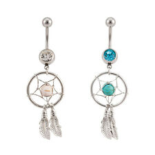 Dangling Dream catcher 14ga Belly Rings with CZ Gem 1 Pair