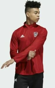 NWT Mens Size L/large Adidas NC State Wolfpack 1/4 zip knit top Shirt red NCAA