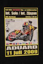 Card / Flyer Int. Solo & Zijspan ONK Shorttrack Aduard 11 juli 2009 (HW)
