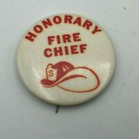 """Vintage HONORARY FIRE CHIEF 2"""" Button Badge Pin Pinback Rare  R2"""