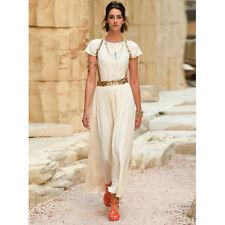 Celebrity style ivory waist hollow goddess crystal wedding prom dress (size S)