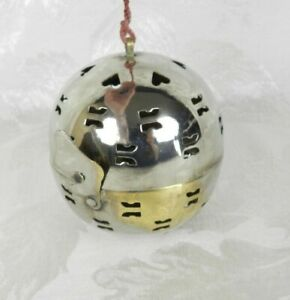 """Vtg Ornament Hinged Hanging Silver Plated Ball India Incense Potpourri Holder 3"""""""