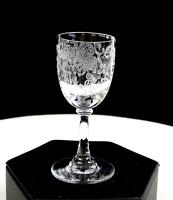 """BOHEMIAN CZECH CLEAR CRYSTAL LATTICE FLORAL ETCHED 3 1/8"""" CORDIAL GLASS"""