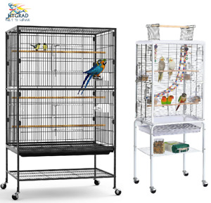 Large Rolling Portable Metal Bird Cage Aviary Wheels Cockatoo Parrot Budgie Pet