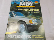 MOTOR MANUAL - OZ CAR MAGAZINE - FEB 1985 - MERCEDES 190 - CAMIRA - FAIRLAINE