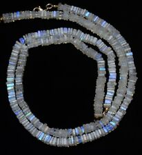 """Natural Moonstone Flashing Blue Fire 6MM Smooth Square Heishi Beads Necklace 16"""""""