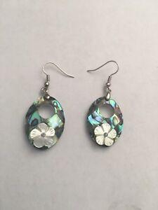 Natural Abalone Shell 18K White Gold Filled Women Jewelry Dangle Earrings-E8300