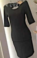 Ladies Dress Backless Black&Gold Sparkle 1/2 Sleeve Sz 8 Retro 80's Look BNWT