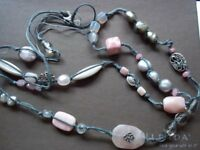 """Silpada Sterling Silver Pearl Pink Soapstone 40"""" Long Necklace N2191 $116  WOW!"""