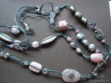 "Silpada Sterling Silver Pearl Pink Soapstone 40"" Long Necklace N2191 $116 Wow!"