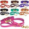 Personalized Dog Collar Leash Set Leather Engraved ID Tag Cat Puppy XS S M L XL