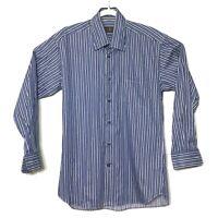 Robert Talbott Classic Long Sleeve Dress Shirt Blue White Striped Mens Sz Medium