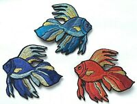 FISH PATCH; Light /& Dark Blue or Red /& GOLD; SEW-ON//IRON-ON *BN* bright colours