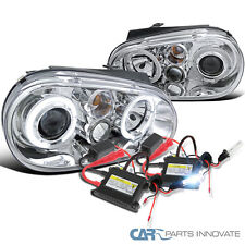 Chrome VW 1999-2006 Golf GTI Mk4 Dual Halo Projector Headlights+H1 6000K HID Kit