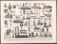1870 Gravure originale Science Physique instruments mesure expériences